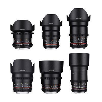 Samyang 6 Piece VDSLR II Cine Lens Set Kit (14/24/35/50/85/135mm) E Mount