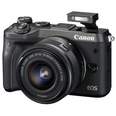 Image of Canon EOS M6 Digital Camera with 15-45mm Lens - Black