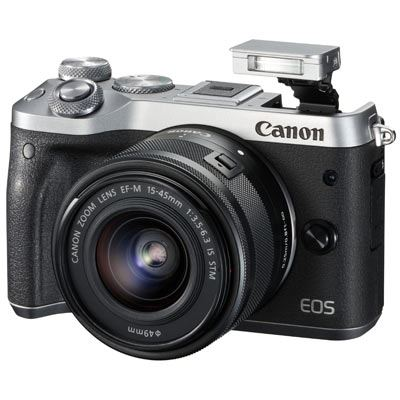 Image of Canon EOS M6 Digital Camera with 15-45mm Lens - Silver