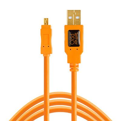 TetherTools TetherPro USB 2.0 A to Mini-B 8 pin 15ft Orange