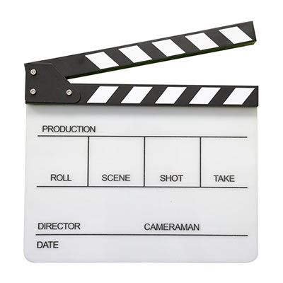 Image of Acrylic Clapperboard with Black and White Sticks