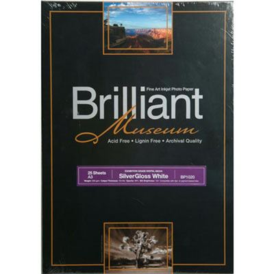 Brilliant Museum Inkjet Paper - SilverGloss White A3+ 25 sheets - 300gsm