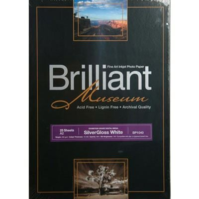Brilliant Museum Inkjet Paper - SilverGloss White A2 25 sheets - 300gsm