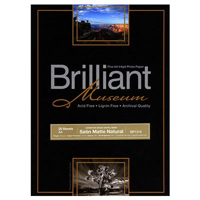 Brilliant Museum Inkjet Paper - SilverGloss Natural A3+ 25 sheets - 300gsm