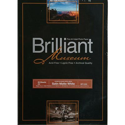 Brilliant Museum Inkjet Paper - Satin Matte White A3 25 sheets - 300gsm