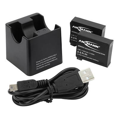 Ansmann Action Cam Charger  2 Batteries  for GoPro Hero 4