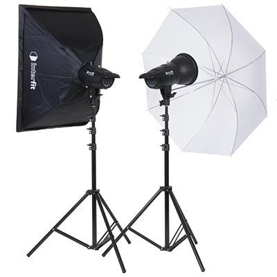 Interfit F121 200w Twin Head Softbox and Umbrella Kit
