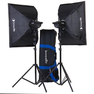 Interfit F121 200w Twin Head Softbox Kit