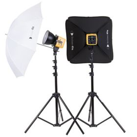 Interfit Honey Badger Twin Head Softbox and Umbrella Kit