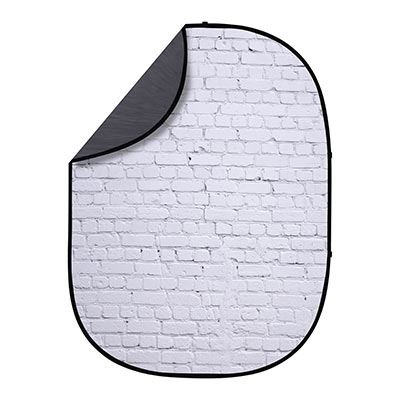 Image of Interfit 1.5 x 2m Pop-Up Reversible Background - White Brick / Grey