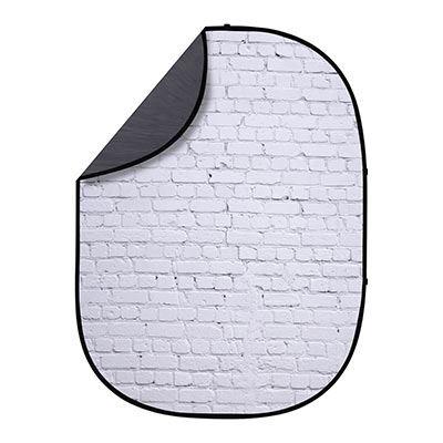 Interfit 1.5 x 2m Pop-Up Reversible Background - White Brick / Grey