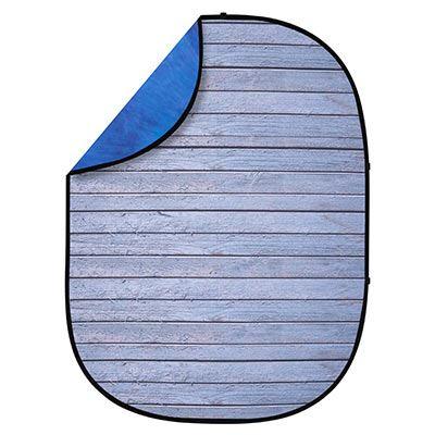 Interfit 1.5 x 2m Pop-Up Reversible Background - Grey Wood / Blue