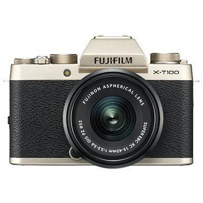 Fujifilm X-T100 Digital Camera with 15-45mm XC Lens - Champagne Gold