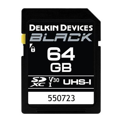 Image of Delkin BLACK 64GB UHS-I V30 U3 90MB/s SDXC Card