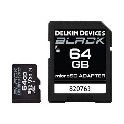 Image of Delkin BLACK 64GB UHS-I V30 U3 90MB/s microSDXC Card
