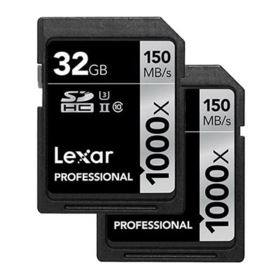 Lexar 32GB 1000x (150MB/Sec) Professional UHS-II SDHC Card - Twin Pack