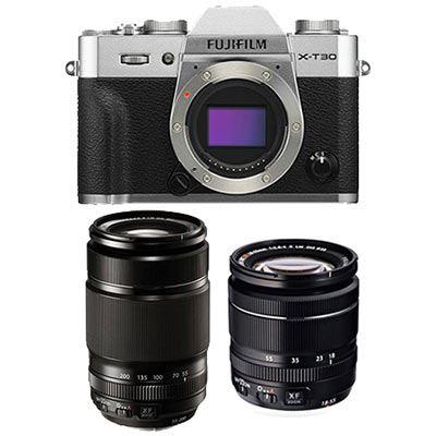 Fujifilm X-T30 Digital Camera with XF 18-55mm + XF 55-200mm Lens - Silver