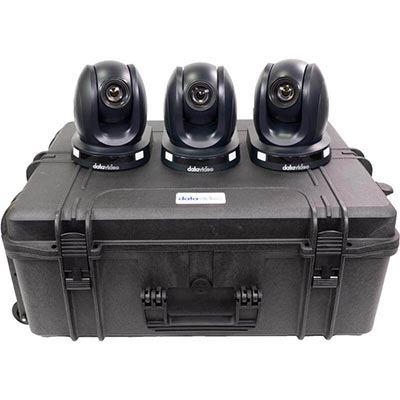 Image of Datavideo 3 x PTC140 HD PTZ Camera and custom foam hardcase