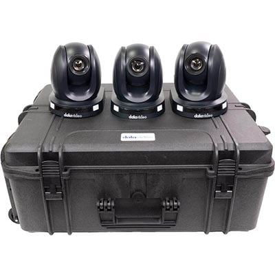 Image of Datavideo 3 x PTC-140T HDBaseT PTZ Camera without HBT-11 and custom foam hardcase