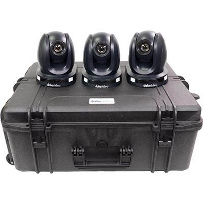 Image of Datavideo 3 x PTC-140TH HDBaseT PTZ Camera with HBT-11 and custom foam hardcase