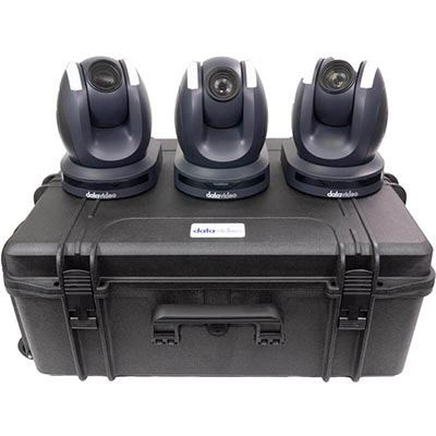 Image of Datavideo 3 x PTC-150TL HDBaseT PTZ Camera without HBT-11 and custom foam hardcase