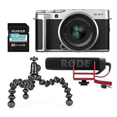 Image of Fujifilm X-A7 Digital Camera with XC 15-45mm Lens Vlogger Kit - Silver