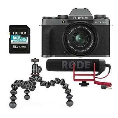Fujifilm X-T200 Digital Camera with XC 15-45mm Lens Vlogger Kit - Dark Silver