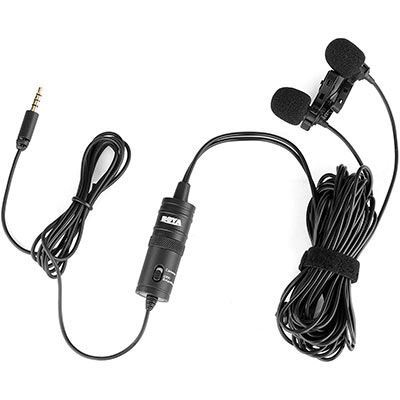 Image of Boya Dual Mic Lavalier Microphone for Smartphones and DSLRs