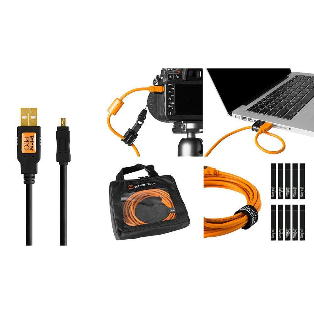 Image of TetherTools Starter Tethering Kit - TetherPro USB 2.0 to Mini-B 8-Pin 15 Inch (4.6m) Black