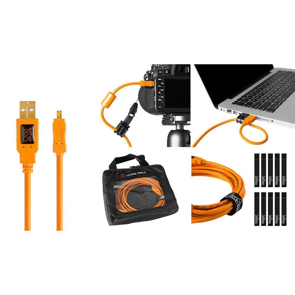 Image of TetherTools Starter Tethering Kit - TetherPro USB 2.0 to Mini-B 8-Pin 15, (4.6m) Orange