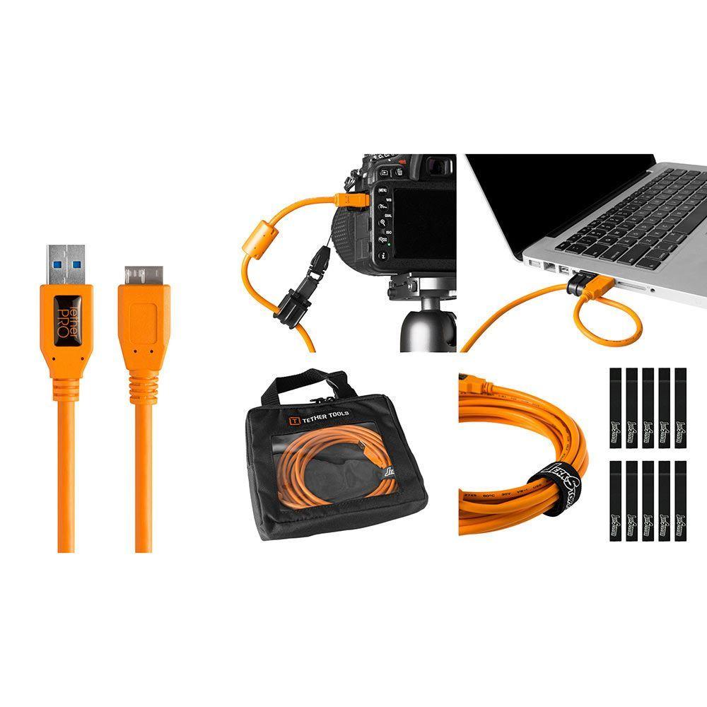 Image of TetherTools Starter Tethering Kit - TetherPro USB 3.0 to Micro-B 15 Inch (4.6m) Orange