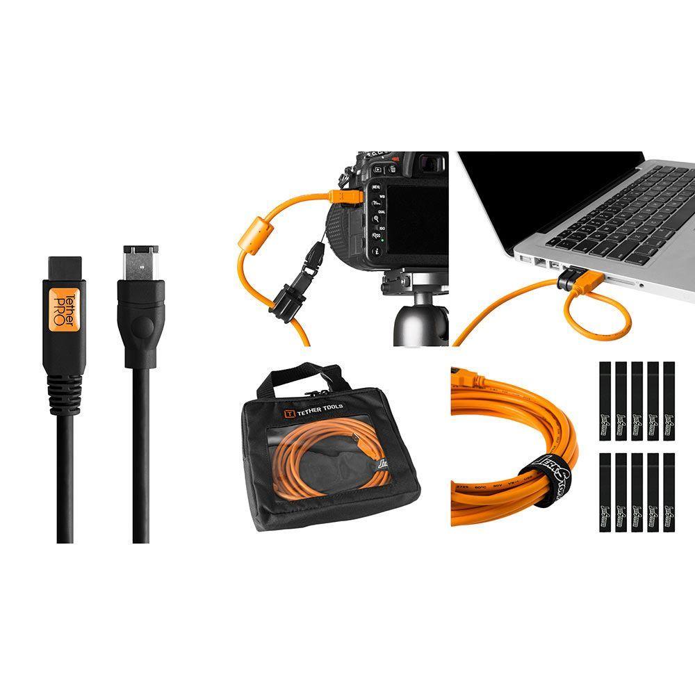 Image of TetherTools Starter Tethering Kit - TetherPro FireWire 800/400 9-Pin to 6-Pin 15 Inch (4.6m) Black