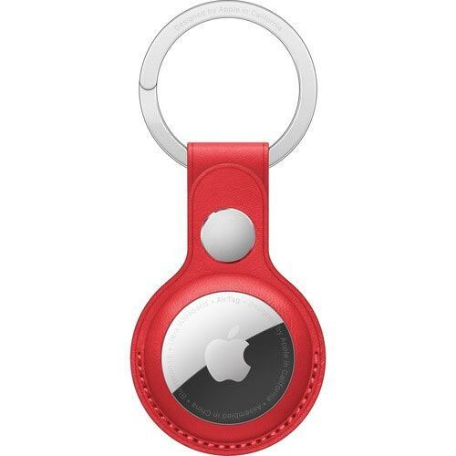 Image of Apple AirTag Leather Key Ring - (PRODUCT)RED