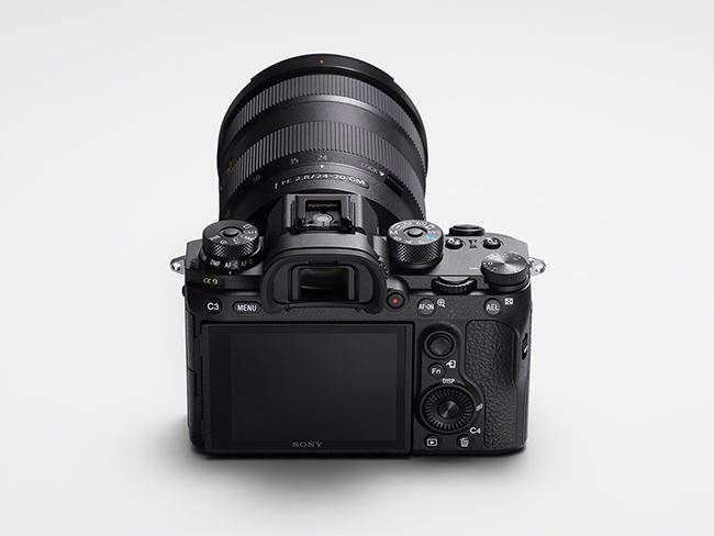 A rear view of the Sony a9 camera