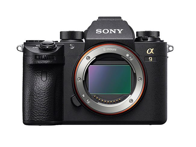 A front view of the Sony a9 camera