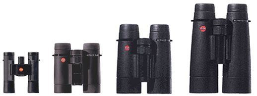 Leica Range of Binoculars showing the different sizes of different objective lens diameters